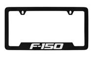 Ford F-150 Bottom Engraved Black Coated Zinc License Plate Frame Holder with Silver Imprint