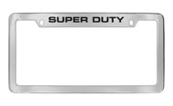 Ford Super Duty Top Engraved Chrome Plated Solid Brass License Plate Frame Holder with Black Imprint