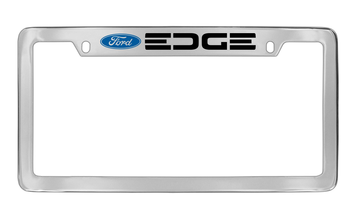 FORD EXCURSION CHROME LICENSE PLATE FRAME BLACK ENGRAVED LETTERS CAP COVERS