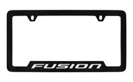 Ford Fusion Bottom Engraved Black Coated Zinc License Plate Frame Holder with Silver Imprint