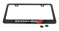 Dodge Logo Black Coated Zinc License Plate Frame Holder with Silver Imprint
