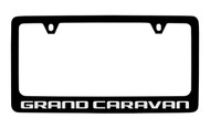 Dodge Grand Caravan Black Coated Zinc License Plate Frame Holder with Silver Imprint