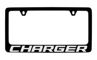 Dodge Charger Black Coated Zinc License Plate Frame Holder with Silver Imprint