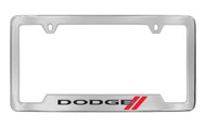 Dodge Logo Chrome Plated Solid Brass Bottom Engraved License Plate Frame Holder with Black Imprint