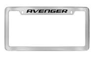 Dodge Avenger Chrome Plated Solid Brass Top Engraved License Plate Frame Holder with Black Imprint