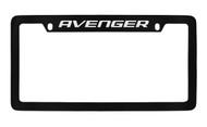 Dodge Avenger Black Coated Zinc Top Engraved License Plate Frame Holder with Silver Imprint