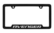 Dodge Avenger Black Coated Zinc Bottom Engraved License Plate Frame Holder with Silver Imprint