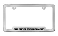 Dodge Grand Caravan Chrome Plated Solid Brass Bottom Engraved License Plate Frame Holder with Black Imprint