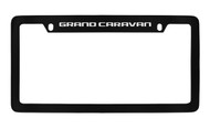 Dodge Grand Caravan Black Coated Zinc Top Engraved License Plate Frame Holder with Silver Imprint