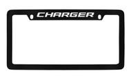 Dodge Charger Black Coated Zinc Top Engraved License Plate Frame Holder with Silver Imprint