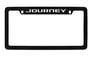 Dodge Journey Black Coated Zinc Top Engraved License Plate Frame Holder with Silver Imprint