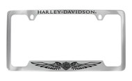 Harley-Davidson License Plate Frame Engraved Harley Davidson On Top,Bar & Shield with Wings On Bottom Chrome Brass Frame Black Epoxy Filled
