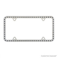Premium Chrome Plated Zinc License Plate Frame Holder Embellished with Swarovski Crystals (LFZCY301-SB-4H)