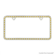 Premium Chrome Plated Zinc License Plate Frame Holder Embellished with Swarovski Crystals (LFZCY301-Y-2H)