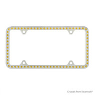 Premium Chrome Plated Zinc License Plate Frame Holder Embellished with Swarovski Crystals (LFZCY301-Y-4H)