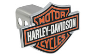 "Harley-Davidson Hitch Cover Set Bar & Shield Color Filled 1.25"" Stainless Steel Hitch Post Red On 'Motor Cycle' & Borders, White On 'Harley Davidson',Black As Back Ground"