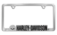 Harley-Davidson License Plate Frame 3D Contour Cut-Out Skull Head & Harley-Davidson Black Imprinted Chrome Finish
