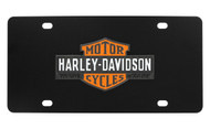 Harley-Davidson Black Front Plate 3 Colors Vintage Bar & Shield Logo Emblem with Trade Mark Black Orange & White Zinc Emblem