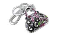 Chrome Plated Ribbon Purse with Black & Green Epoxy Pink Purple Fuchsia Czechoslovakia Crystal Key Chain