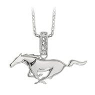 Rhodium Plated Ford Mustang Pony Necklace Embellished with Premium Crystals