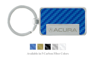 Acura Logo Carbon Fiber Vinyl Inlay Rectangle Key Chain