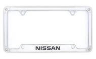 Nissan Carbon Fiber Vinyl Insert License Frame adorned with premium crystals