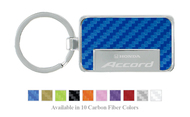 Honda Logo Accord Carbon Fiber Vinyl Inlay Rectangle Key Chain