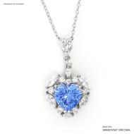 Fancy Blue Sweet Heart Pendant Made with Swarovski Zirconia