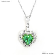 Green Sweet Heart Pendant Made with Swarovski Zirconia
