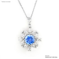 Fancy Blue Bloom Pendant Made with Swarovski Zirconia