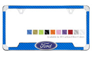 Carbon Fiber Vinyl Insert License Plate Frame With 3D Ford Oval Emblem