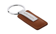 Volkswagen Wordmark Brown Leather Key Chain Ring With Satin Metal