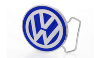 Volkswagen Logo Chrome Belt Buckle With Blue Epoxy Paint Fill