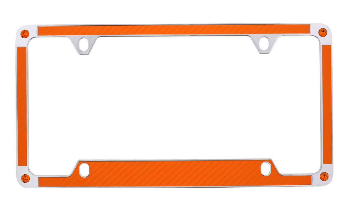 Orange Carbon Fiber Vinyl Inlay License Plate Frame Embellished With ...