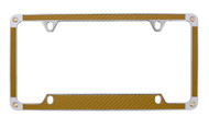 Gold Carbon Fiber Vinyl Inlay License Plate Frame Embellished With Swarovski® Crystals