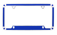 Blue Carbon Fiber Vinyl Inlay License Plate Frame Embellished With Swarovski® Crystals