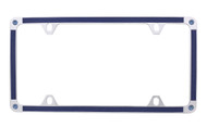 Blue Brush Vinyl Inlay Thin Rim License Plate Frame Embellished With Premium Crystals