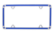 Blue Carbon Fiber Vinyl Inlay Thin Rim License Plate Frame Embellished With Swarovski® Crystals