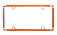 Orange Carbon Fiber Vinyl Inlay Thin Rim License Plate Frame Embellished With Swarovski® Crystals