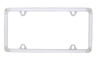 White Carbon Fiber Vinyl Inlay Thin Rim License Plate Frame Embellished With Swarovski® Crystals