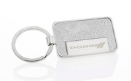 Satin Metallic Silver Textured Vinyl Inlay Keychain with Laser Engraved Dodge Imprint