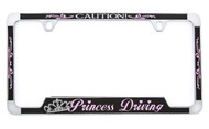 Beautifully designed black & pink hearts with swirls 'Princess Driving' license frame on polished Chrome metal