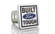 Ford's 'BUILT Ford TOUGH' logo square metal tow hitch cover. Chrome plated solid Brass with Stainless Steel post with rattle-eliminating rubber gaskets. Quality craftsmanship. Official licensed product.