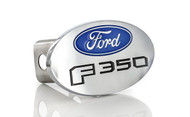 Ford F 350 Chrome Metal Trailer Hitch Cover Plug (2 inch Post) with Ford Logo