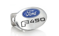Ford F 450 Metal Trailer Hitch Cover Plug (2 inch Post) with Ford Logo