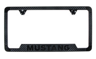 Mustang Carbon Fiber Vinyl Inlay License Frame with Black Exposed Wordmark