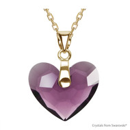 Amethyst Truly In Love Heart Necklace Embellished with Swarovski Crystals (NE2G-204)