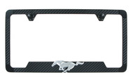 Carbon Fiber Vinyl Insert License Frame With 3D Mustang Emblem_ Available in Four Colors