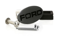 Matte Black Powder Coated Oval Hitch Cover with Black Epoxy Filled Ford Logo