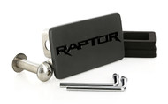 Matte Black Powder Coated Rectangular Hitch Cover with Black Epoxy Filled Raptor Logo